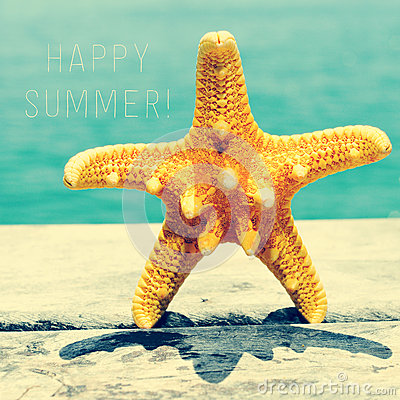 Free Starfish On Wooden Pier And Text Happy Summer Royalty Free Stock Photography - 55727607