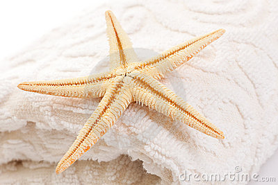 Starfish on soft white towel