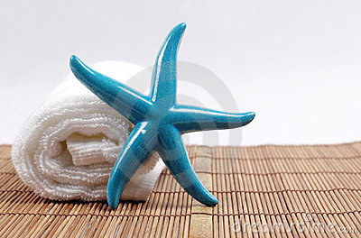 Starfish and towel