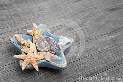 Starfishes in ceramic bowl on grey wooden background