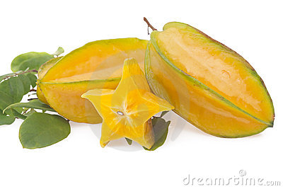 Starfruit, carambola on white
