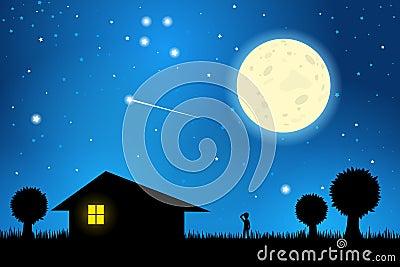 Stargazing on a moonlit night