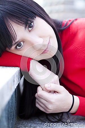 Staring girl portrait