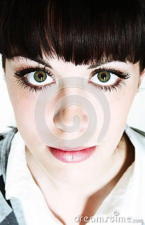 Staring green eyes