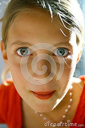 Staring teenage girl portrait