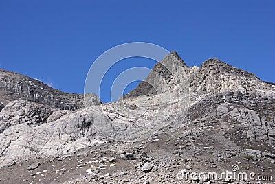 Stark rocky peaks against blue sky