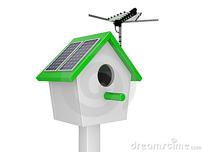 Starling house with theantenna and solar batteries