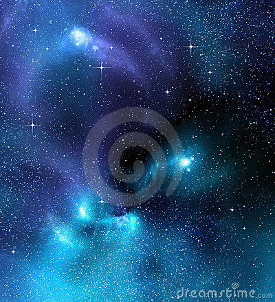 Starry deep outer space nebual and galaxy