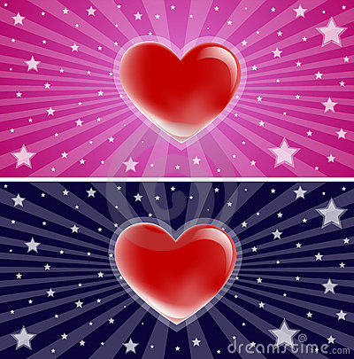 Starry love heart background