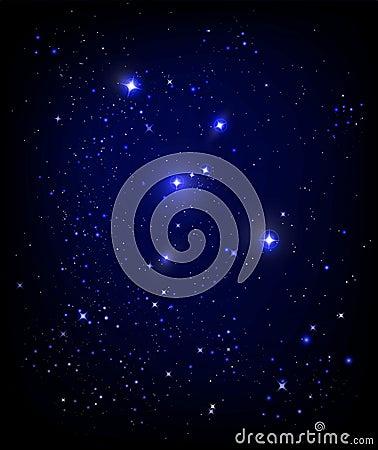 Starry night sky Vector Illustration