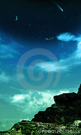 Starry night sky rocky background