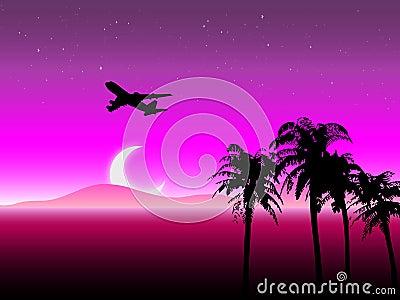 Starry Night Travel Landscape Vector