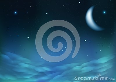 Starry scatter on night cloudy sky with moon, fantasy astronomy constellation concept abstract background vector illustration Vector Illustration