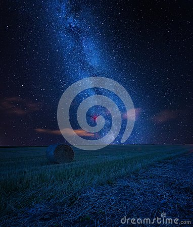 Free Starry Sky Over Stubble Field, Fine Art Landscape Stock Image - 108185701