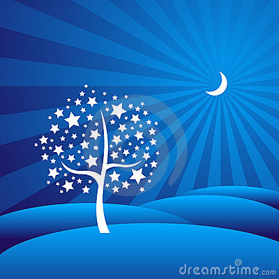 Starry Tree in a Moon-lit Dreamy Landscape