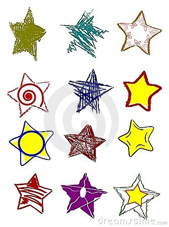 set of colorful isolated stars in different shapes