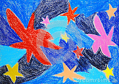 Stars. Abstract color oil pastel painting.