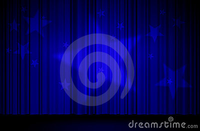 Stars and blue curtain