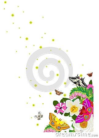 Stars, butterflies and flowers