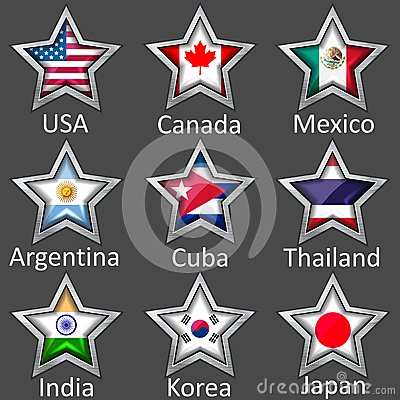 Stars with flags icon