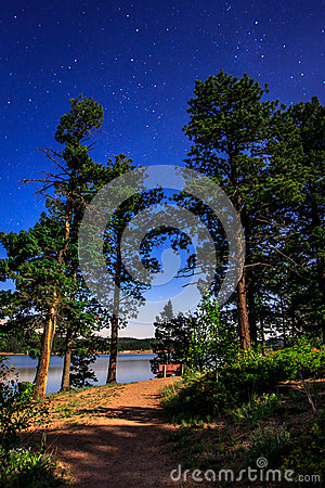 Stars and Lake by Moonlight at Rampart Reservoir Stock Photo