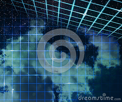 Stars on Laser Sky Abstract Space Background