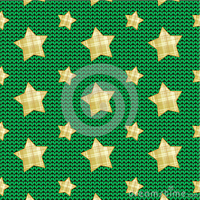 Stars over knitted background