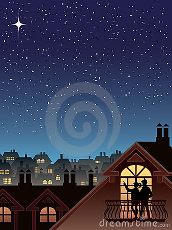 Stars over a town
