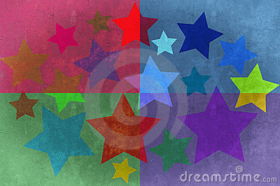 Stars and rectangles grunge background. Stock Photo