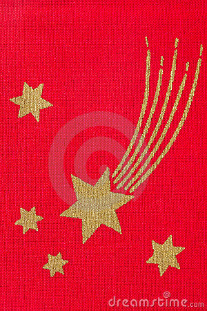 Stars on red fabric