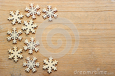 Stars on rough wooden background