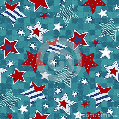 Free Stars Seamless Pattern. Drawing Hands Stock Images - 37879994