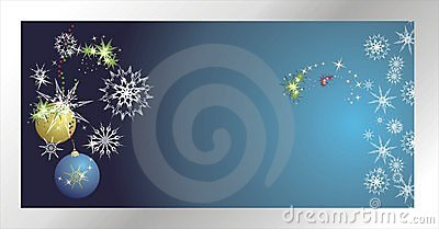 Stars, snowflakes and balls. Christmas banner