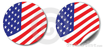 Stars, stripes button and sticker