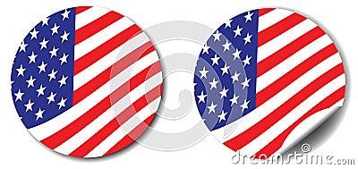 Stars, stripes button and sticker