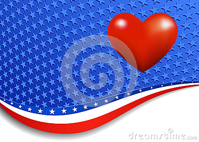Stars and Stripes Landscape Heart