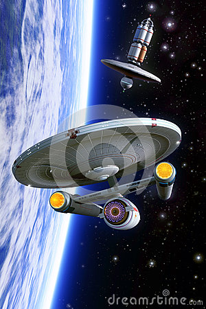 Free Starship Crossbow Class And Space Station Royalty Free Stock Images - 62168329