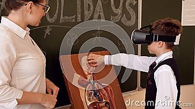 Starsza nauczyciela nauczania biologia szkolni ucznie zbiory wideo
