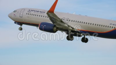 Start Aeroflots Boeing 737-800 stock video footage