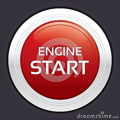 Start Engine Button Red Round Sticker Royalty Free Stock