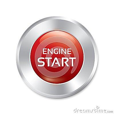 Free Start Engine Button. Vector Red Round Sticker. Stock Photography - 33333472