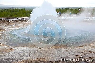 Start of eruption of the geyser Strokkur