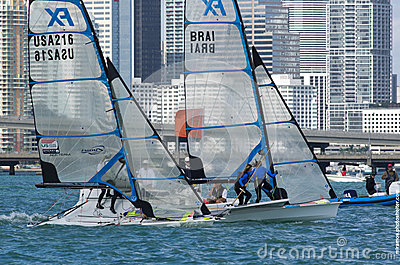 The start of the final race for the 49erFX class at the 2013 ISA Editorial Photography