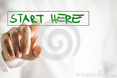Start here Stock Photo