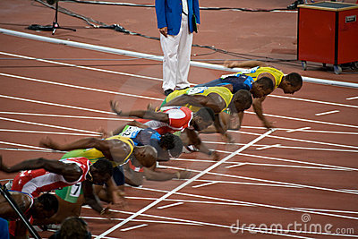 Start of mens 100-meter sprint Editorial Photo