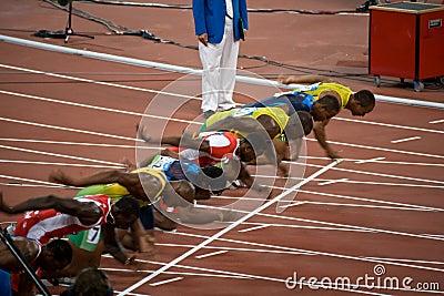 Start of mens 100-meter sprint Editorial Photo