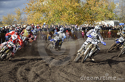 Start motocross, a group of motorbike racing Editorial Image