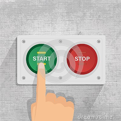 Start and stop button. finger pressing start button. gray background Vector Illustration