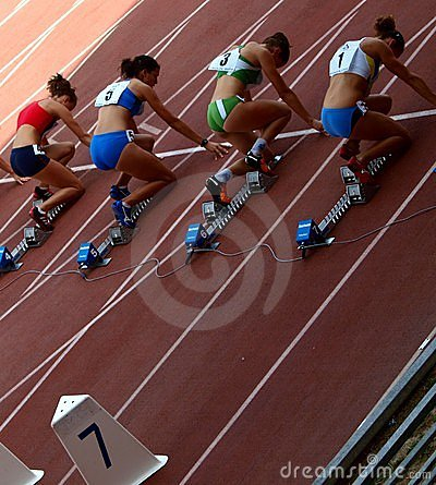 The start of women s high hurdles Editorial Image
