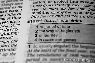 Start word in dictionary stock photo image 58796610 for Start dictionary